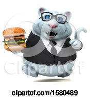 Clipart Of A 3d White Business Kitty Cat Holding A Burger On A White Background Royalty Free Illustration