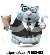 Poster, Art Print Of 3d White Business Kitty Cat Holding A Beer On A White Background