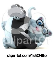 Clipart Of A 3d White Business Kitty Cat Holding A Cloud On A White Background Royalty Free Illustration