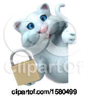 3d White Kitty Cat Holding A Padlock On A White Background