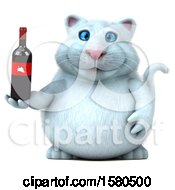 3d White Kitty Cat Holding Wine On A White Background