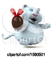 3d White Kitty Cat Holding A Chocolate Egg On A White Background