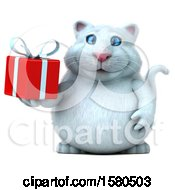 Clipart Of A 3d White Kitty Cat Holding A Gift On A White Background Royalty Free Illustration