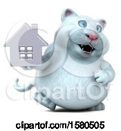 3d White Kitty Cat Holding A House On A White Background