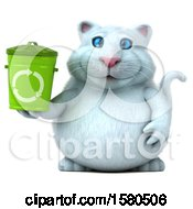 3d White Kitty Cat Holding A Recycle Bin On A White Background