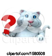 3d White Kitty Cat Holding A Question Mark On A White Background