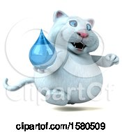 3d White Kitty Cat Holding A Water Drop On A White Background