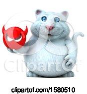 3d White Kitty Cat Holding A Devil On A White Background