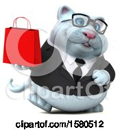 Clipart Of A 3d White Business Kitty Cat Holding A Shopping Bag On A White Background Royalty Free Illustration