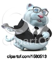 3d White Business Kitty Cat Holding A Wrench On A White Background
