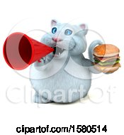 Clipart Of A 3d White Kitty Cat Holding A Burger On A White Background Royalty Free Illustration