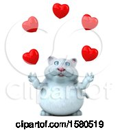 Poster, Art Print Of 3d White Kitty Cat Juggling Hearts On A White Background
