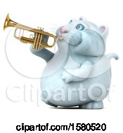 Poster, Art Print Of 3d White Kitty Cat Playing A Trumpet On A White Background