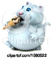 Clipart Of A 3d White Kitty Cat Eating A Waffle Cone On A White Background Royalty Free Illustration