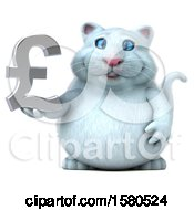 Clipart Of A 3d White Kitty Cat Holding A Pound Currency Symbol On A White Background Royalty Free Illustration