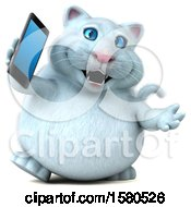 Clipart Of A 3d White Kitty Cat Talking On A Cell Phone On A White Background Royalty Free Illustration