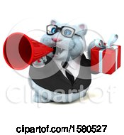 Clipart Of A 3d White Business Kitty Cat Holding A Gift On A White Background Royalty Free Illustration