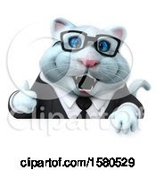 Clipart Of A 3d White Business Kitty Cat Holding A Thumb Up On A White Background Royalty Free Illustration