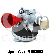 Clipart Of A 3d White Business Kitty Cat Holding A Padlock On A White Background Royalty Free Illustration