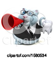 Clipart Of A 3d White Business Kitty Cat Holding A Tooth On A White Background Royalty Free Illustration