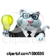 Clipart Of A 3d White Business Kitty Cat Holding A Light Bulb On A White Background Royalty Free Illustration