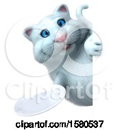 Clipart Of A 3d White Kitty Cat Holding A Plate On A White Background Royalty Free Illustration