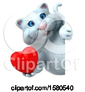 Clipart Of A 3d White Kitty Cat Holding A Heart On A White Background Royalty Free Illustration