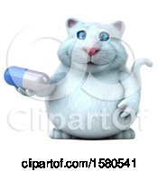 Clipart Of A 3d White Kitty Cat Holding A Pill On A White Background Royalty Free Illustration
