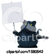 3d Black Kitty Cat Holding A Wrench On A White Background