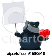 3d Black Kitty Cat Holding A Heart On A White Background