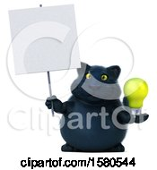 3d Black Kitty Cat Holding A Light Bulb On A White Background