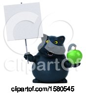 3d Black Kitty Cat Holding An Apple On A White Background