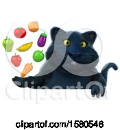 3d Black Kitty Cat Holding Produce On A White Background