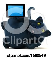 3d Black Kitty Cat Holding A Tablet On A White Background