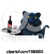 3d Black Kitty Cat Holding Wine On A White Background