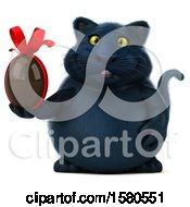 3d Black Kitty Cat Holding A Chocolate Egg On A White Background