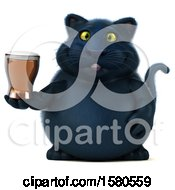 Poster, Art Print Of 3d Black Kitty Cat Holding A Beer On A White Background
