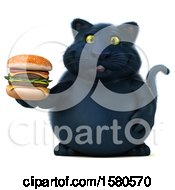 3d Black Kitty Cat Holding A  On A White Background