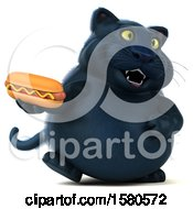 3d Black Kitty Cat Holding A Hot Dog On A White Background