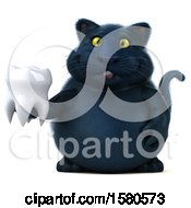3d Black Kitty Cat Holding A Tooth On A White Background