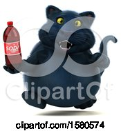 3d Black Kitty Cat Holding A Soda On A White Background