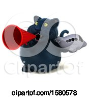 3d Black Kitty Cat Holding A Plane On A White Background