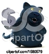 3d Black Kitty Cat Holding A Dollar Sign On A White Background