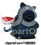 3d Black Kitty Cat Holding A Steak On A White Background