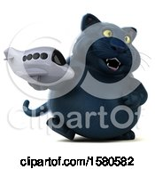 Clipart Of A 3d Black Kitty Cat Holding A Plane On A White Background Royalty Free Illustration