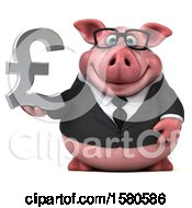 3d Chubby Business Pig Holding A Pound Currency Symbol On A White Background