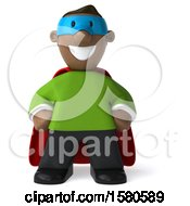 Clipart Of A 3d Black Super Hero On A White Background Royalty Free Illustration