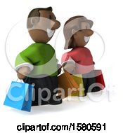 Clipart Of A 3d Happy Black Couple Shopping On A White Background Royalty Free Illustration