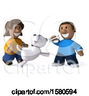 Poster, Art Print Of 3d Happy Black Couple Or Kids With A Dog On A White Background