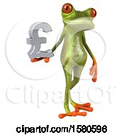 3d Green Frog Holding A Pound Currency Symbol On A White Background